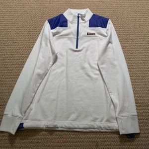 White and blue quarter zip.